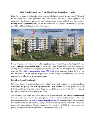 Godrej and lotus greens trusted real estate brands enters noida