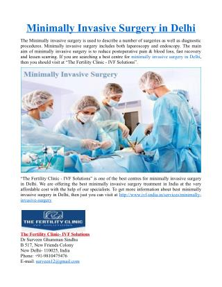Minimally Invasive Surgery in Delhi