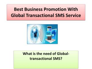 Best Business Promotion with Global Transactional SMS Service
