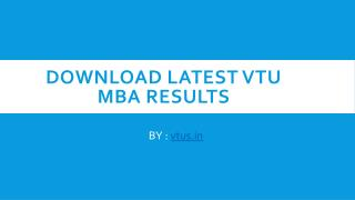 How to Check VTU MBA Results 2017
