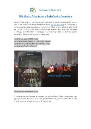 Milk Music:Enjoy Samsung Radio Service Everywhere