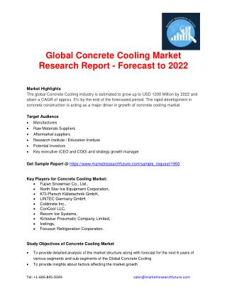 Concrete Cooling Market Segments Based on Geography, Key Players, Driver, Market Challenge, Market Trend 2022
