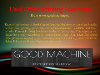 Used Komori Printing Machines In Europe