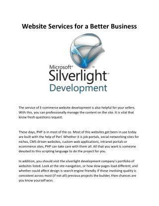 Website Services For A Better Business