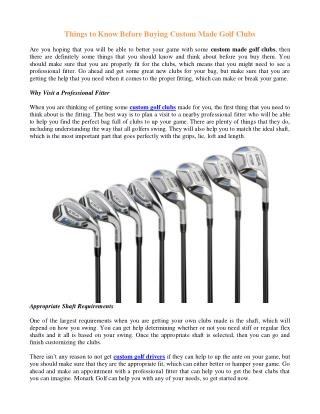 Things to Know Before Buying Custom Made Golf Clubs