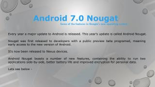 hire android app developer information on Android 7.0 Nougat