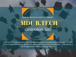 Mdu B.Tech Admission 2017
