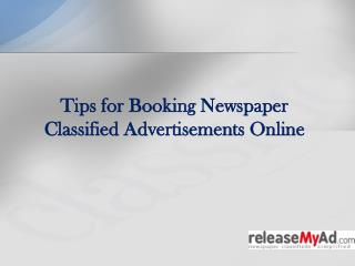 Newspaper Classified Advertising Guidance
