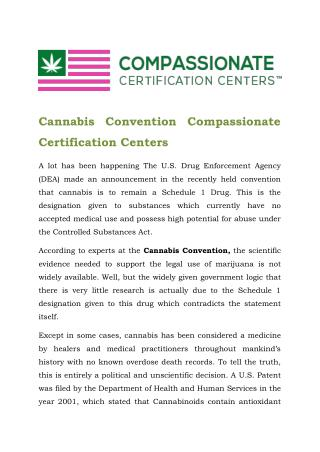 Cannabis Convention Compassionate Certification Centers