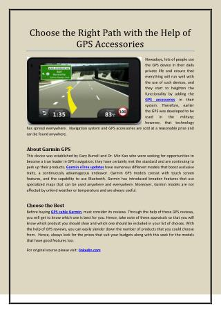 Choose the Right Path with the Help of GPS Accessories