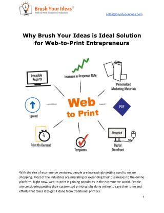 Why Brush Your Ideas is Ideal Solution for Web-to-Print Entrepreneurs
