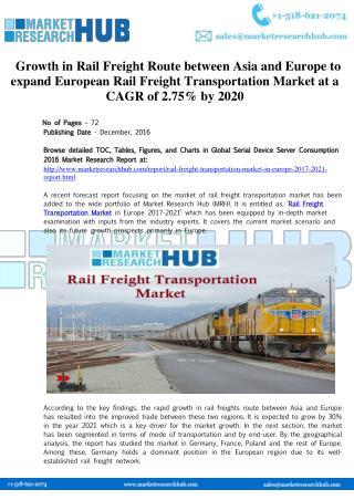 Europe Rail Freight Transportation Market Report 2017-2021