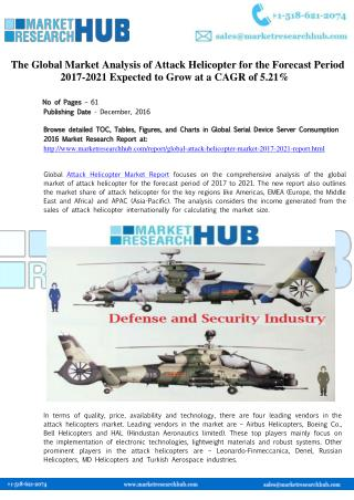 Global Attack Helicopter Market Report 2017-2021