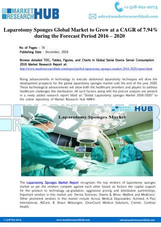 Global Laparotomy Sponges Market Report 2016-2020