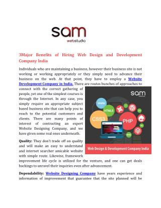 3Major Benefits of Hiring Web Design and Development Company India