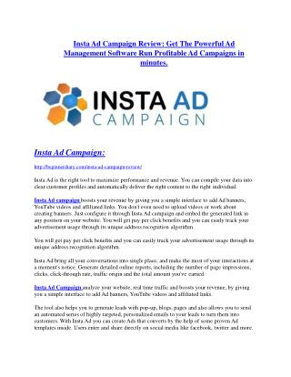 Insta Ad Campaign review and MEGA $38,000 Bonus - 80% Discount