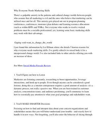 Why Everyone Needs Marketing Skills - Social Media Firesale Review and Special Bonus