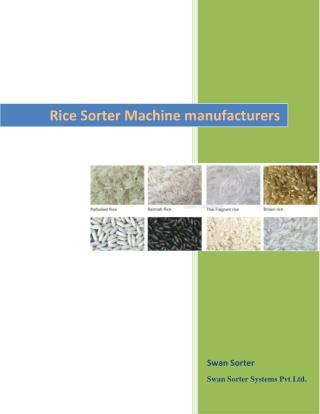 Rice Sorter Machine manufacturers