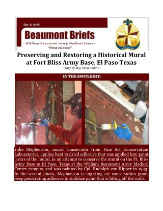 Preserving and Restoring a Historical Mural at Fort Bliss Army Base, El Paso Texas