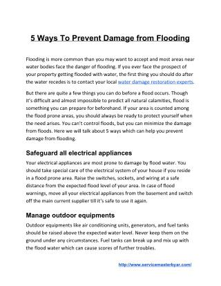 5 Ways To Prevent Damage from Flooding