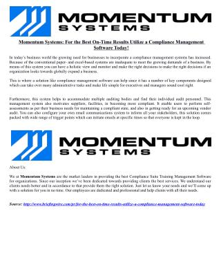 Momentum Systems: For the Best On-Time Results Utilize a Compliance Management Software Today!