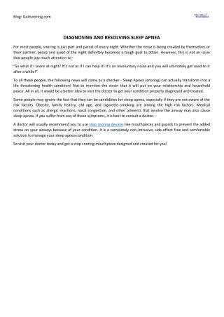 Diagnosing and Resolving Sleep Apnea