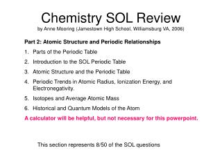 Chemistry SOL Review by Anne Mooring Jamestown High School, Williamsburg VA, 2006