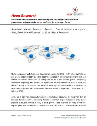 Aquafeed Market Analysis, Size, Share, Growth, Industry Trends and Forecast to 2022- Hexa Research