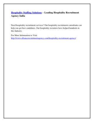 Hospitality Staffing Solutions – Leading Hospitality Recruitment Agency India