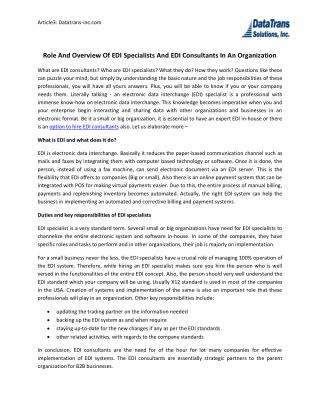 Role And Overview Of Edi Specialists And EDI Consultants In An Organization