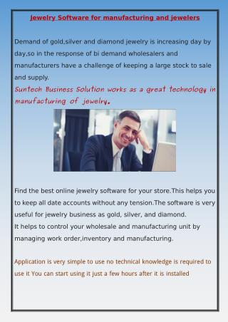 Jewellery Manufacturing software
