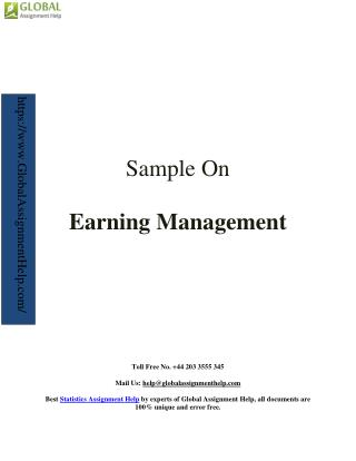 Sample on earning management By Global Assignment Help