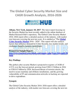Global Cyber Security Market Size and CAGR Growth Report, 2016-2026