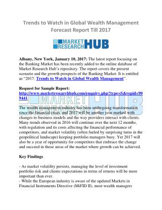 Trends to Watch in Global Wealth Management Forecast Report Till 2017