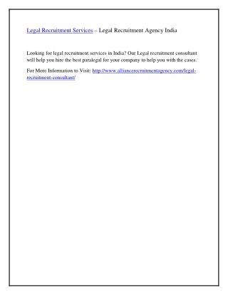 Legal Recruitment Services – Legal Recruitment Agency India
