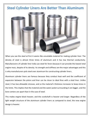 Steel Cylinder Liners Are Better Than Aluminum