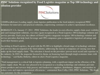 PINC Solutions recognized by Food Logistics magazine as Top