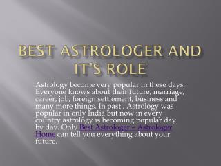 Best Astrologer and Its Role