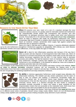 How to use Neem Oil for Skin Improvement