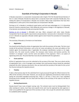 Essentials of Forming A Corporation In Nevada