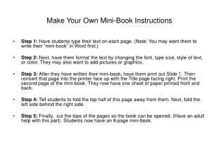 Make Your Own Mini-Book Instructions