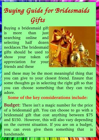 Buying Guide for Bridesmaidss Gift