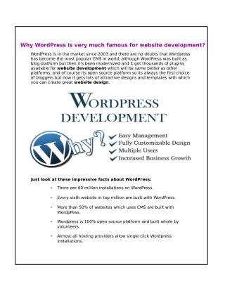 Why WordPress is very much famous for website development​?