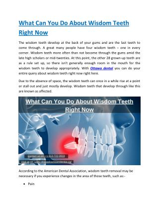 What Can You Do About Wisdom Teeth Right Now
