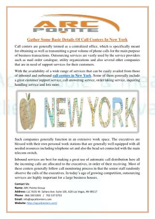 Gather Some Basic Details Of Call Centers In New York