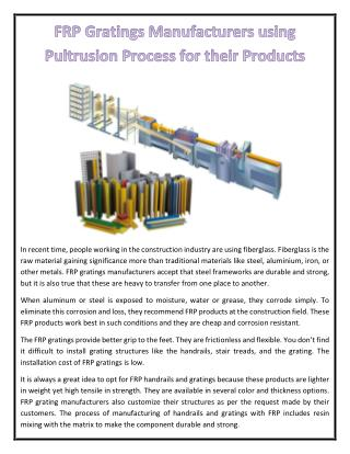 FRP Gratings Manufacturers using Pultrusion Process for their Products