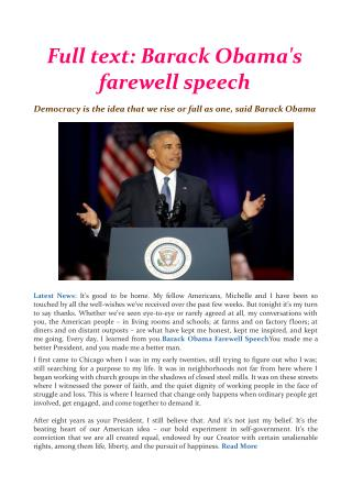 Full text: Barack Obama's farewell speech