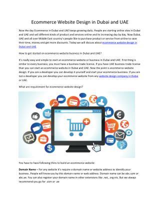 Ecommerce Website Design in Dubai and UAE