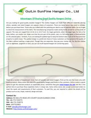 Advantages Of Buying Good Quality Hangers Online